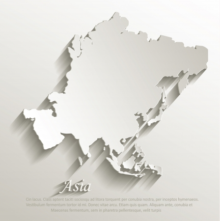 Asia map card paper 3D natural vector Vectores
