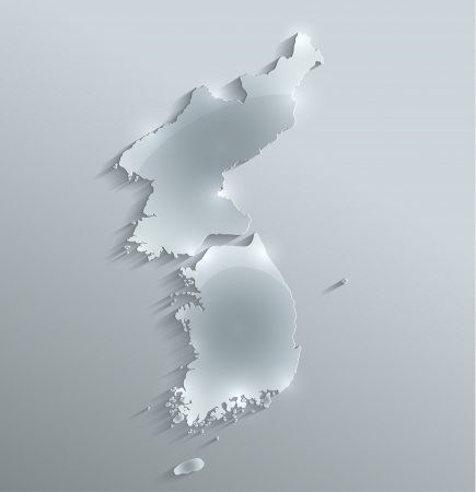 north korea: South North Korea map glass card paper 3D raster divided