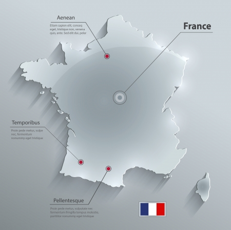 France map glass card paper 3D vector  Ilustrace