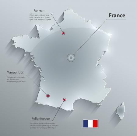 Frankrijk kaart glas kaart papier 3D vector Stockfoto - 24385242