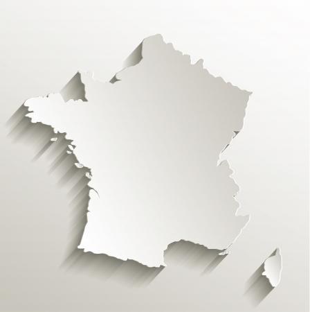 France map card paper 3D natural raster