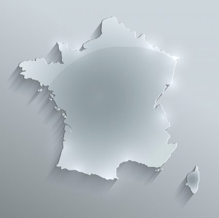 France map glass card paper 3D raster