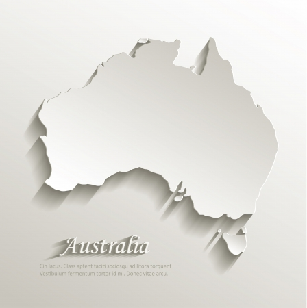 Australia map card paper 3D natural vector