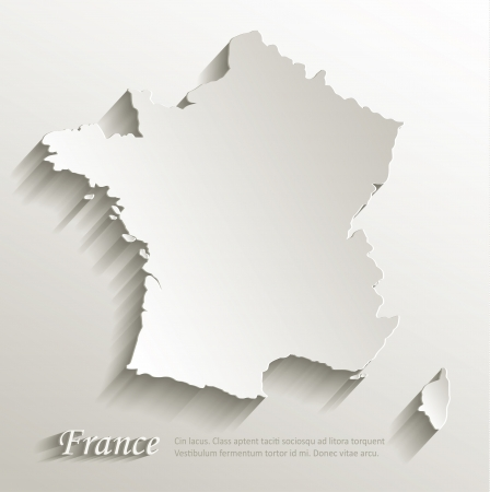 european maps: France map card paper 3D natural vector
