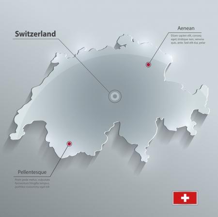 Switzerland map glass card paper 3D vector flag  Vector