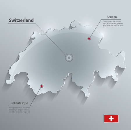 switzerland flag: Switzerland map glass card paper 3D vector flag