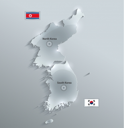 korea map: South North Korea map glass card paper 3D divided vector