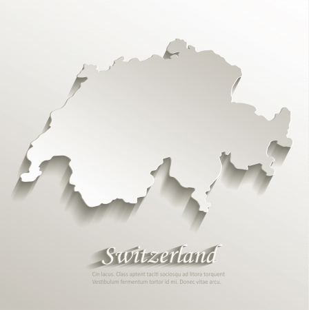 Switzerland map card paper 3D natural vector  Vector