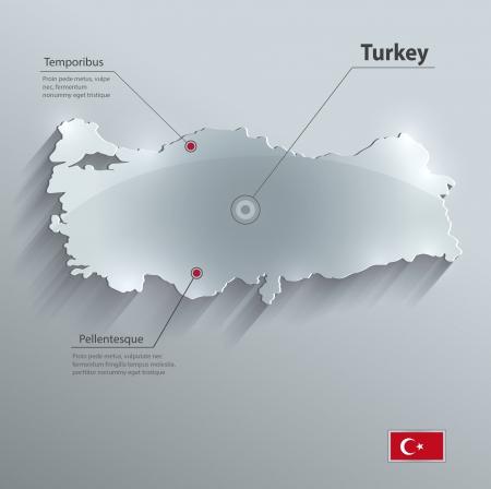 Turkije kaart glas kaart papier 3D vector vlag Stockfoto - 24385278