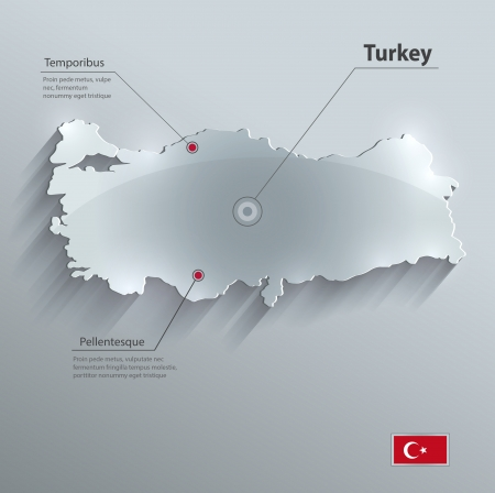 Turkey map glass card paper 3D vector flag