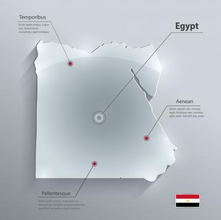 flag of egypt: Tarjeta de cristal Egipto mapa de la bandera de papel 3D