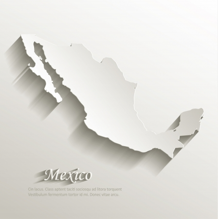 Mexico map card paper 3D natural Stock Illustratie