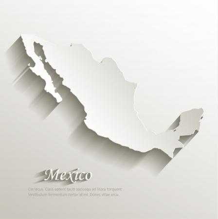 Mexico map card paper 3D natural Vectores