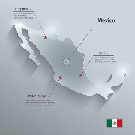 Mexico map flag glass card paper 3D Vector
