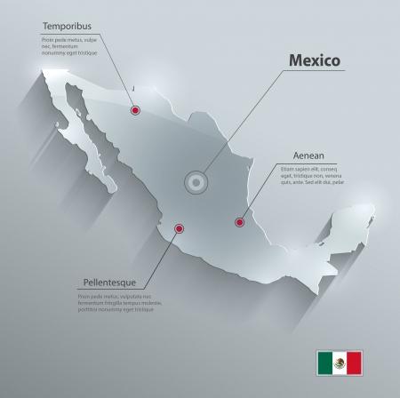 mexiko karte: Mexiko Karte Flagge Glas Karte Papier 3D Illustration