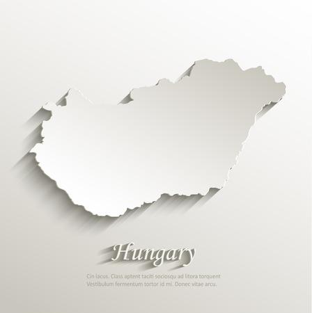 Hungary map card paper 3D natural