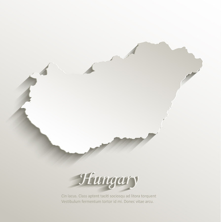 Hungary map card paper 3D natural  Vectores