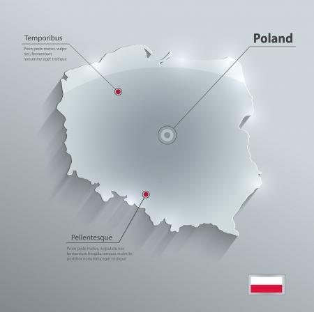 Poland map glass card paper 3D