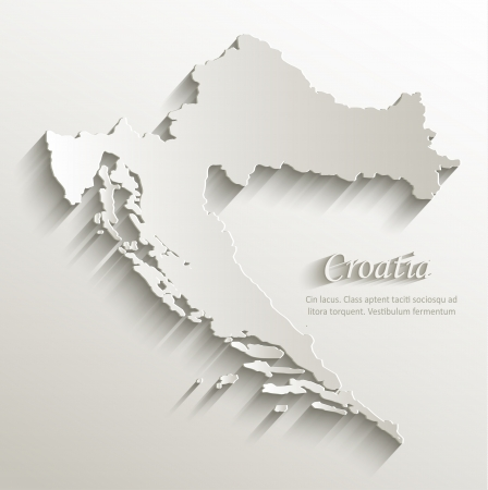 Croatia map card paper 3D natural vector  Vector