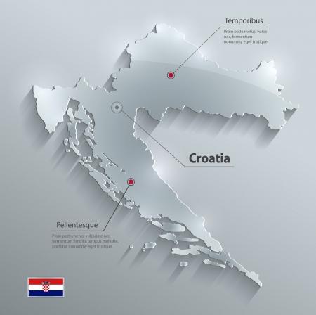 bandera de croacia: Tarjeta de cristal Croacia bandera de mapa de vectores de papel 3D