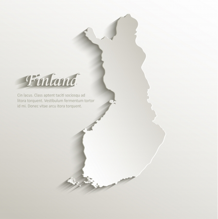 Finland map card paper 3D natural vector