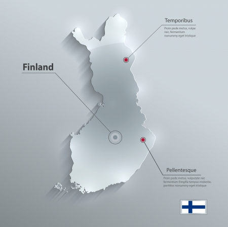 finland: Finland map flag glass card paper 3D vector