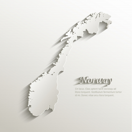 Norway map card paper 3D natural vector Vector