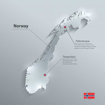 norway flag: Norway map flag glass card paper 3D vector