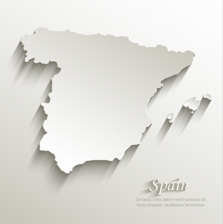 Spain map card paper 3D natural vector  Illustration