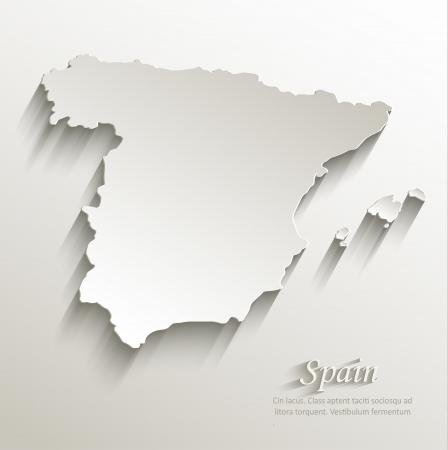 Spain map card paper 3D natural vector  Vectores