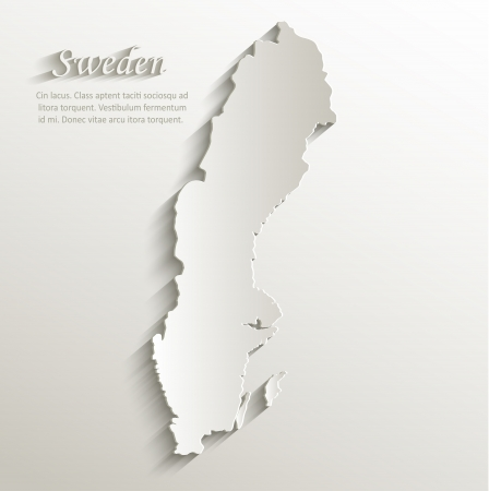 Sweden map card paper 3D natural vector
