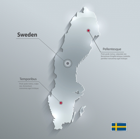 Sweden map glass card paper 3D vector Vector