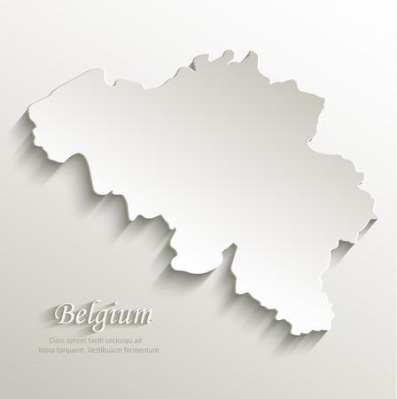 Belgium map card paper 3D natural Illustration
