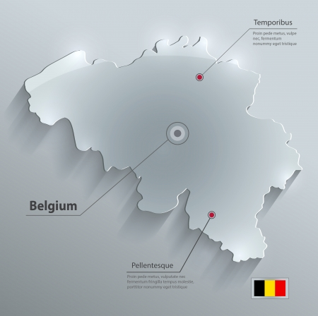 Belgium map flag glass card paper 3D Vector