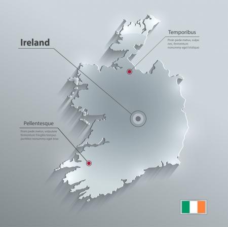 ireland map: Ireland map flag glass card paper 3D