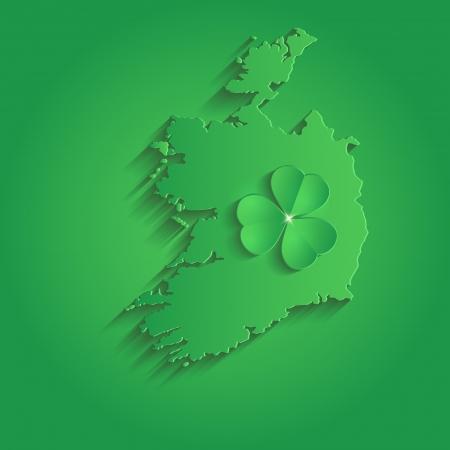 st  patrick day: Ireland map St Patrick Day shamrock paper 3D