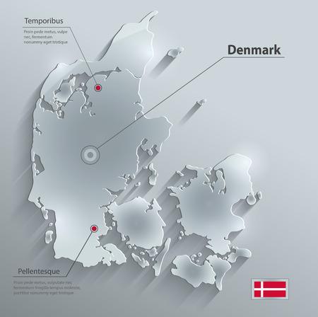 denmark flag: Denmark map flag glass water card paper 3D   Illustration