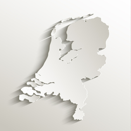 Netherlands map card paper 3D natural raster blank  Stock Photo