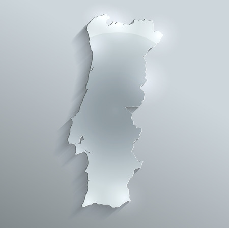 Portugal map glass water card paper 3D raster blank  photo