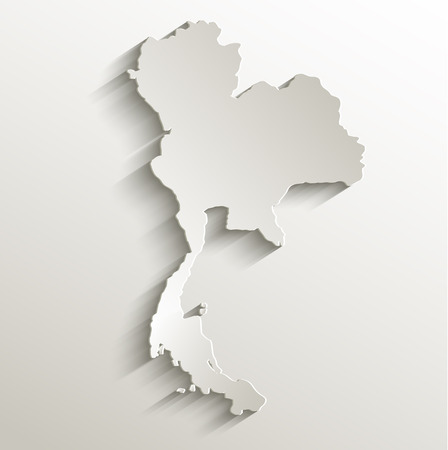 Thailand map card paper 3D natural raster blank