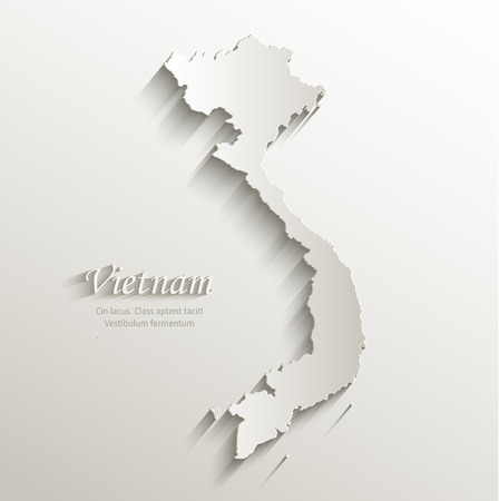 Vietnam map card paper 3D natural