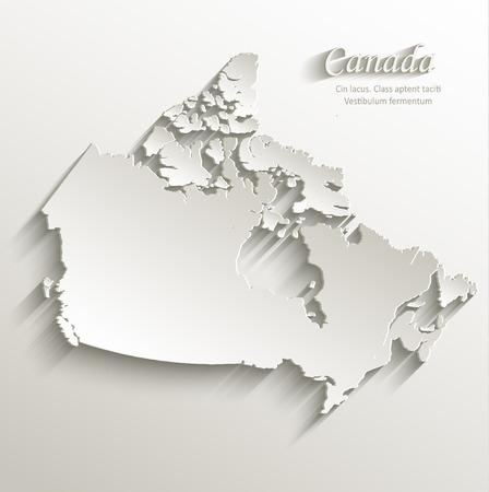 north america map: Canada map card paper 3D natural