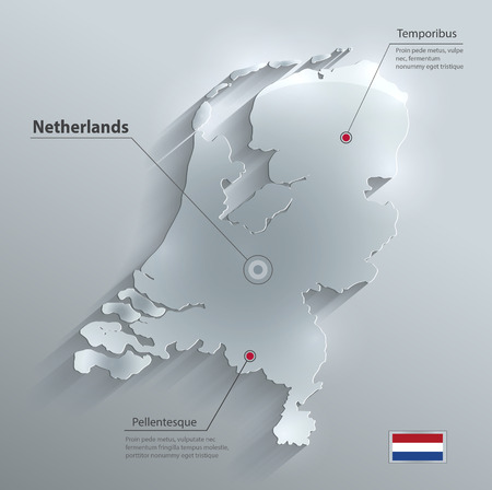 Netherlands Holland map flag glass water card paper 3D  Vector