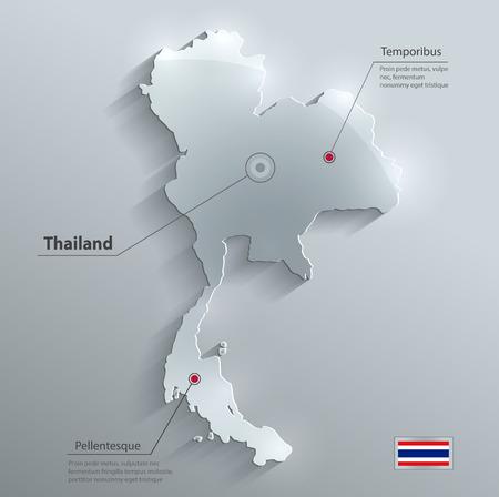 タイ地図フラグ ガラス水カード紙の 3 D