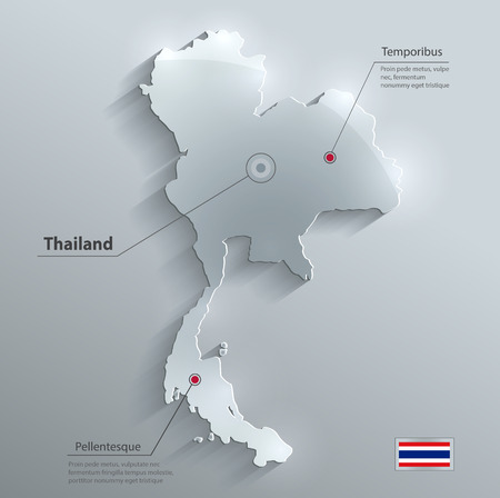 thai people: Thailand map flag glass water card paper 3D