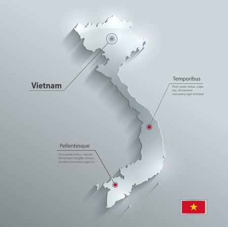 vietnam flag: Vietnam map flag glass water card paper 3D