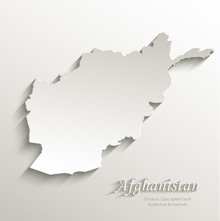 afghan: Afghanistan map card paper 3D natural vector