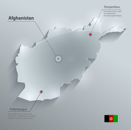 Afghanistan map flag glass card paper 3D vector  Vector