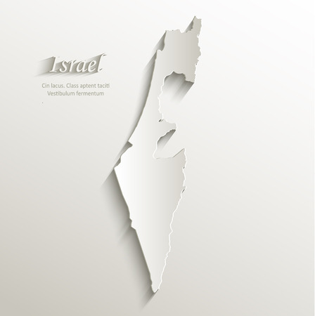 Israel map card paper 3D natural vector  Vector