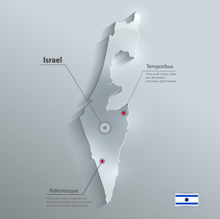 Israel map flag glass card paper 3D vector  Vector